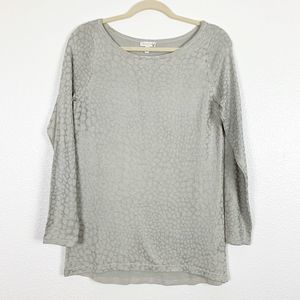 Cache Silver Pattern Boat Neck Long Sleeve Top Med